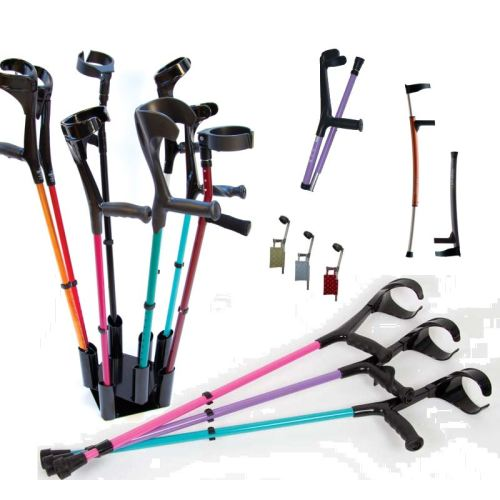 A selection of crutches in a wide range of colours