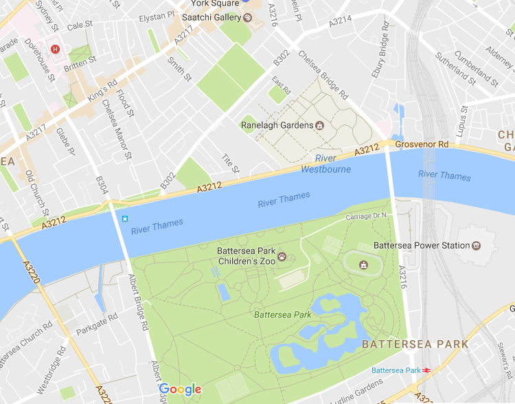 Google Map Of Chelsea Flower Show Location