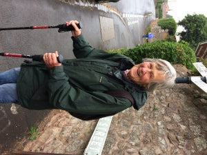 Mary Adams out walking in the rain!
