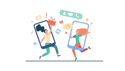 Refer a friend and you'll both receive a £ coupon code, friends celebrating illustrated inside the frame of a phone