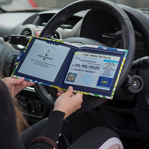 Blue Badge Wallet in use in car