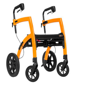 A photograph of a modern-looking, orange-coloured rollator