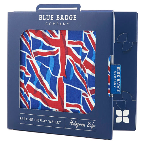 Disabled Blue Badge Wallet in Union Jack packed in Blue Badge Company recyclable packaging