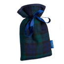 Mini Hot Water Bottle in Blackwatch Tartan with blue satin ribbon and blue badge company label showing