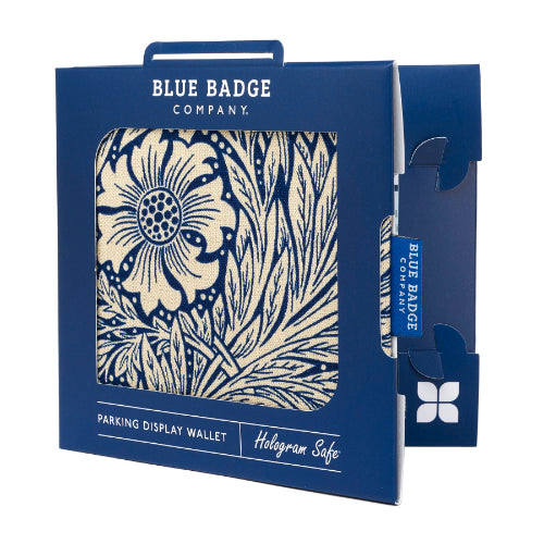 Disabled Blue Badge Wallet in William Morris Marigold Indigo packed in blue badge company recyclable packaging