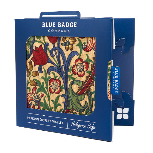 Disabled Blue Badge Wallet in William Morris Golden Lily packed in blue badge company recyclable packaging