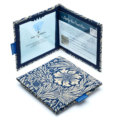 Disabled Blue Badge Wallet in William Morris Marigold Indigo displayed open with parking permit with hologram safe design and parking clock visible