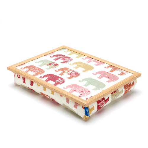 Bean Bag Lap Tray in Nelly Elephant  print against white background