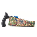 Fabric Storage Bag for Folding Walking Stick in William Morris Golden Lily with walking stick inside and blue badge company label showing