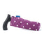 Fabric Storage Bag for Folding Walking Stick in Purple Spotty with blue badge company label showing and walking stick inside