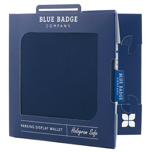 Disabled Blue Badge Wallet in Navy Drill  packed in blue badge company recyclable packaging