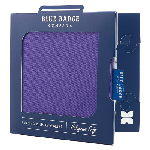 Disabled Blue Badge Wallet in Purple Drill packed in blue badge company recyclable packaging