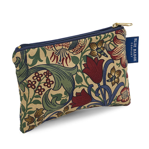 Small Makeup Bag for Purse in William Morris Golden Lily