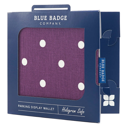 Disabled Blue Badge Wallet in Purple Spotty packed in blue badge company recyclable packaging