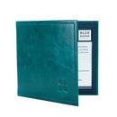 Leather Disabled Blue Badge Wallet in Lake Green with blue badge company logo embossed on top