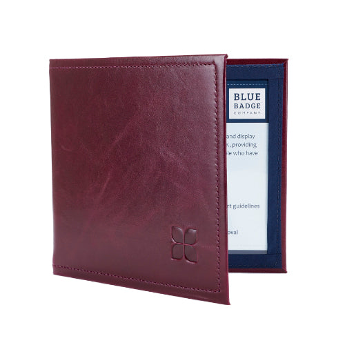 Leather Disabled Blue Badge Wallet in Burgundy with blue badge company logo embossed on top
