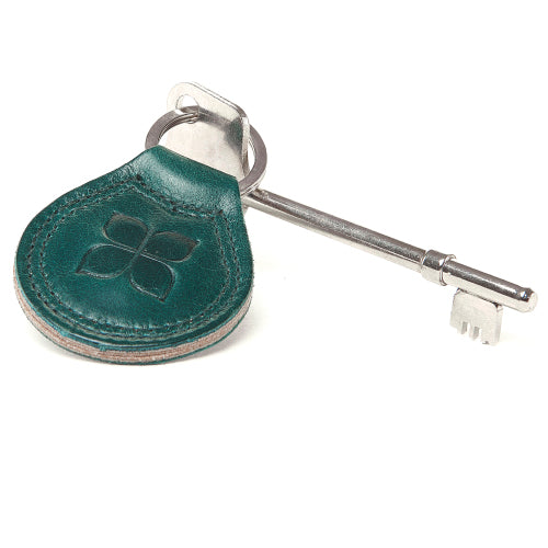 RADAR Disabled Toilet Key with Leather Keyring in Lake Green with blue badge company logo embossed on top and placed against a white background
