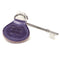 RADAR Disabled Toilet Key with Leather Keyring in Purple with blue badge company logo embossed on top and placed against white background