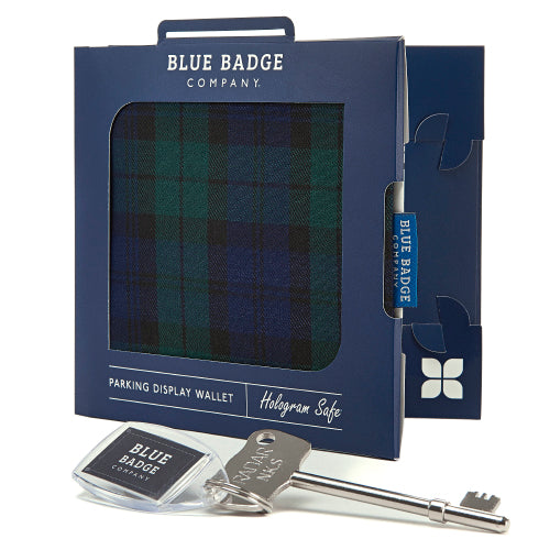 Disabled Blue Badge Wallet in Blackwatch packed in blue badge company recyclable packaging and RADAR Disabled Toilet Key with blue badge company keyring