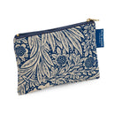 Small Makeup Bag in William Morris Marigold Indigo with blue badge company label showing