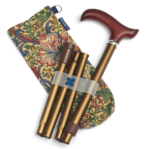 Adjustable Folding Walking Stick in Bronze & Stylish Fabric Storage Bag in William Morris Golden Lily