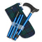 Adjustable Folding Walking Stick in Navy & Fabric Storage Bag in Blackwatch Tartan with blue badge company label showing