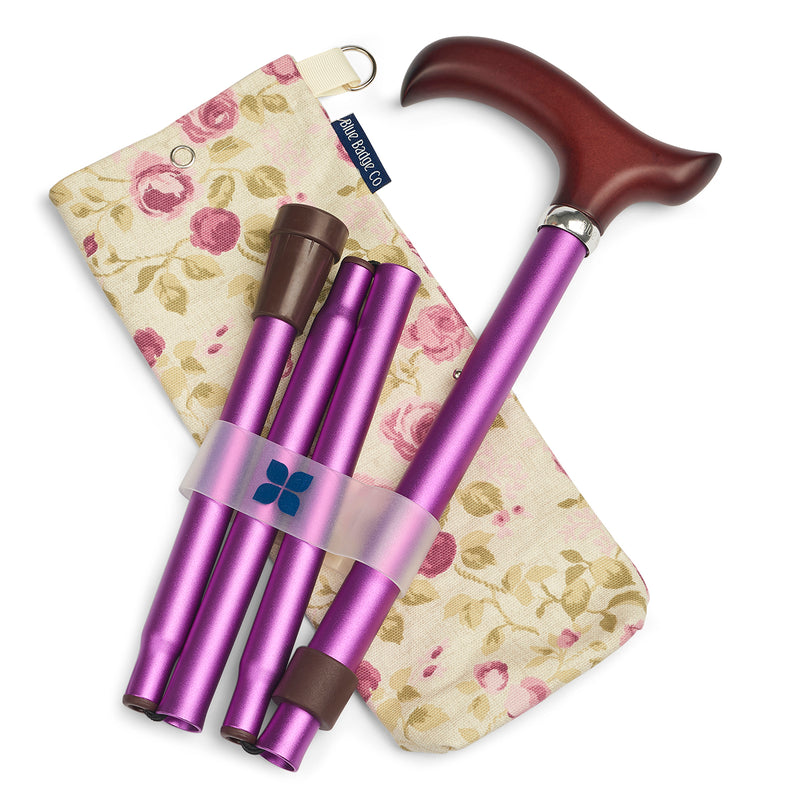 Adjustable Folding Walking Stick in Purple & Fabric Storage Bag in Mulberry Rose with blue badge company label showing