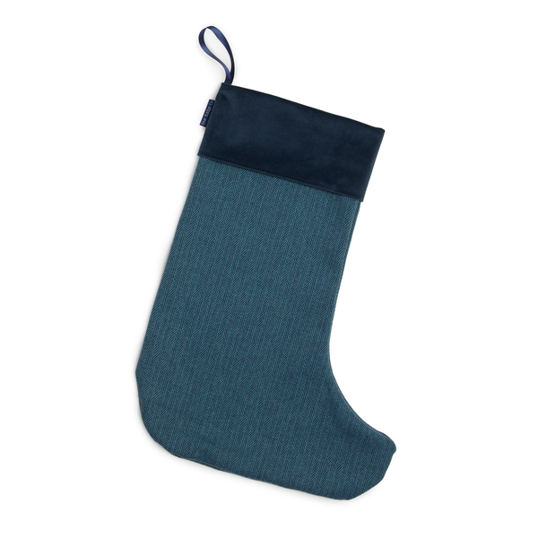 Christmas Stocking in Herringbone with Navy Velvet Trim