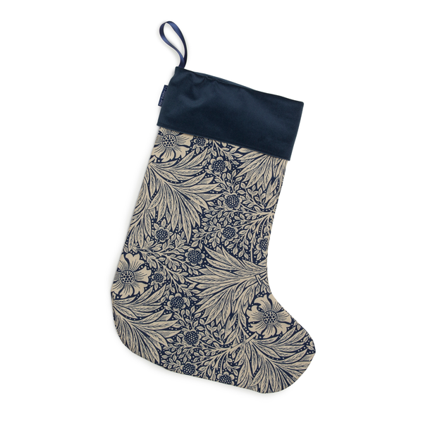 Christmas Stocking in William Morris Marigold Indigo with Navy Velvet Trim