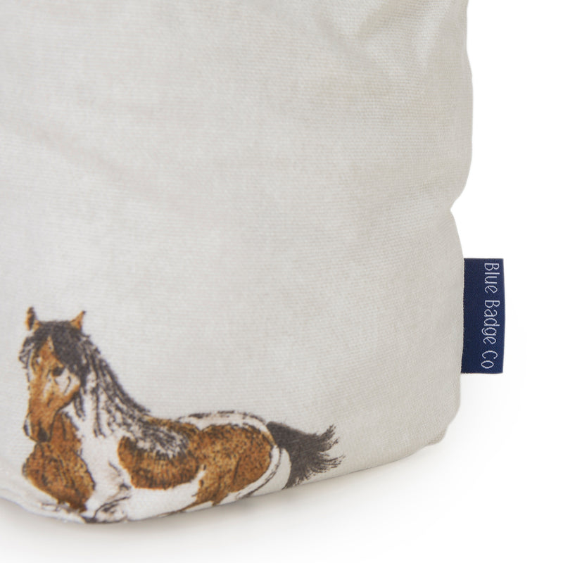 Fabric Door Stopper Horse and Pony closeup label