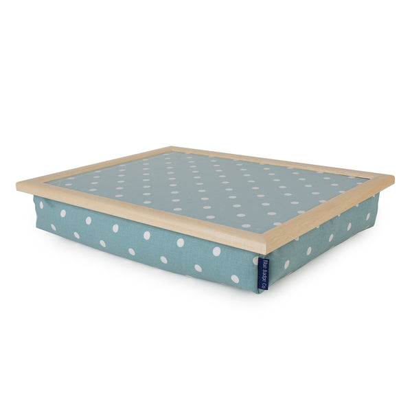 Aqua Marine Spotty Lap tray with blue badge company label showing
