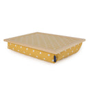 Bean Bag Lap Tray in Canary Yellow Spotty with blue badge company label showing