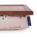 The corner of the Cherry Blossoms lap tray, showcasing the dark wood frame and Blue Badge Co label