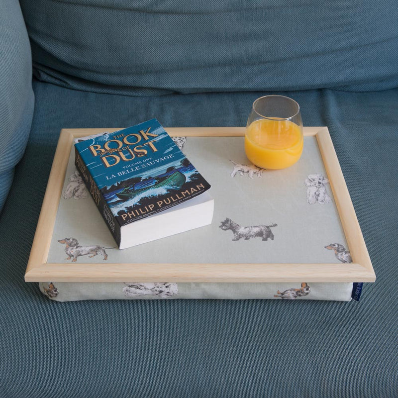 Bean Bag Lap Tray in Dog Breeds in use at home with book and glass of juice on top