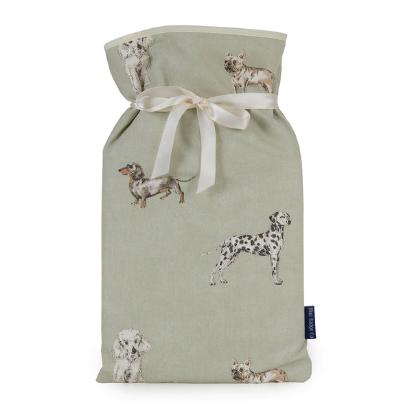 Large Hot Water Bottle in Dog Breeds and silk ribbon