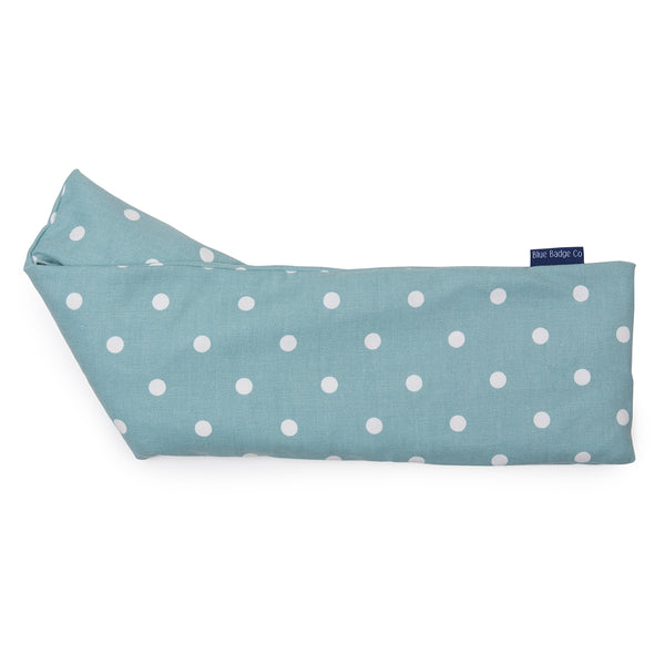 Lavender Wheat Warmer, Heated Wheat Bag in Aqua Marine Spotty over white