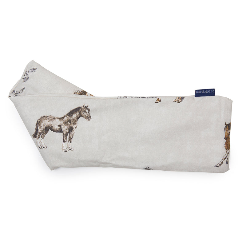 Lavender Wheat Warmer, Heated Wheat Bag in Horse and Pony with blue badge company label showing