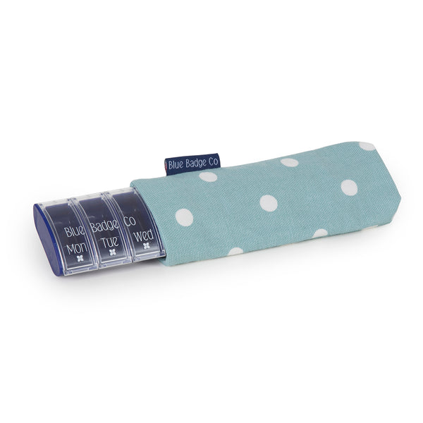 Weekly Pill Box with Stylish Carry Case in Aqua Marine Spotty