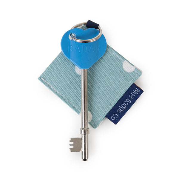 Genuine RADAR Disabled Toilet Key & Fabric Keyring in Aqua Marine Spotty