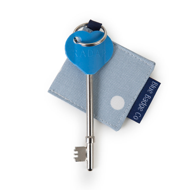 Disabled Blue Badge Wallet, Keyring and RADAR key in Powder Blue Spotty