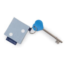 Genuine RADAR Disabled Toilet Key & Fabric Keyring in Powder Blue Spotty another angle