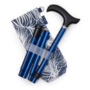 Adjustable Folding Walking Stick in Navy & Stylish Fabric Storage Bag in Peacock