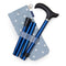 Adjustable Folding Walking Stick in Navy & Stylish Fabric Storage Bag in Powder Blue Spotty