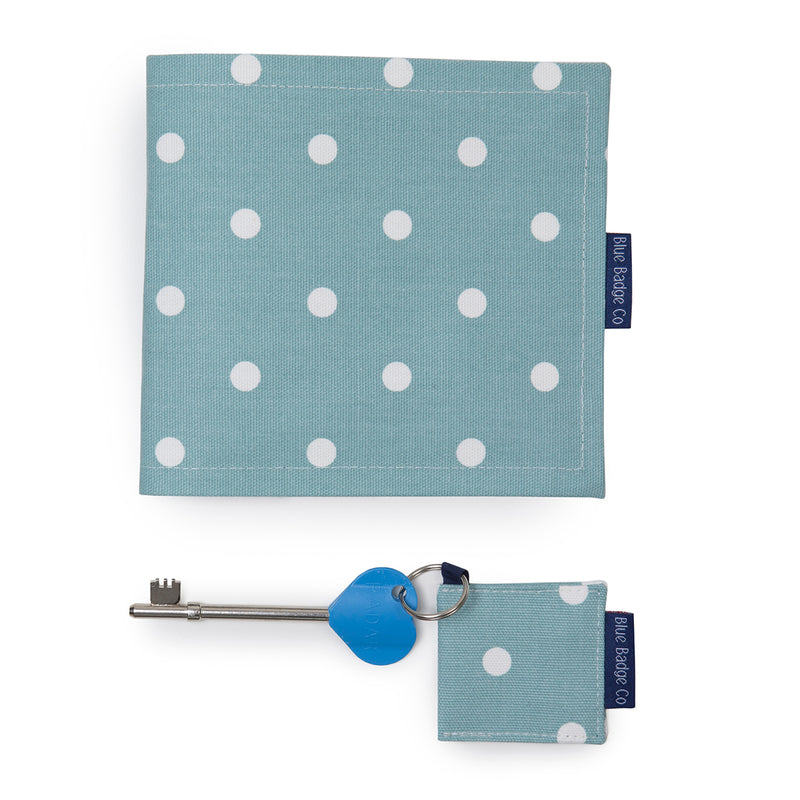 Disabled Blue Badge Wallet, Keyring and RADAR key in Aqua Marine Spotty with blue badge company label showing