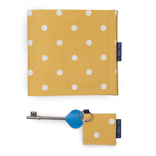Disabled Blue Badge Wallet, Keyring and RADAR key in Canary Yellow Spotty with blue badge company label showing