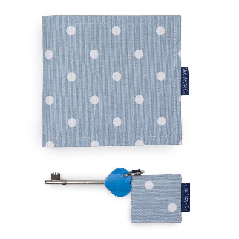 Disabled Blue Badge Wallet, Keyring and RADAR key in Powder Blue Spotty with blue badge company label showing