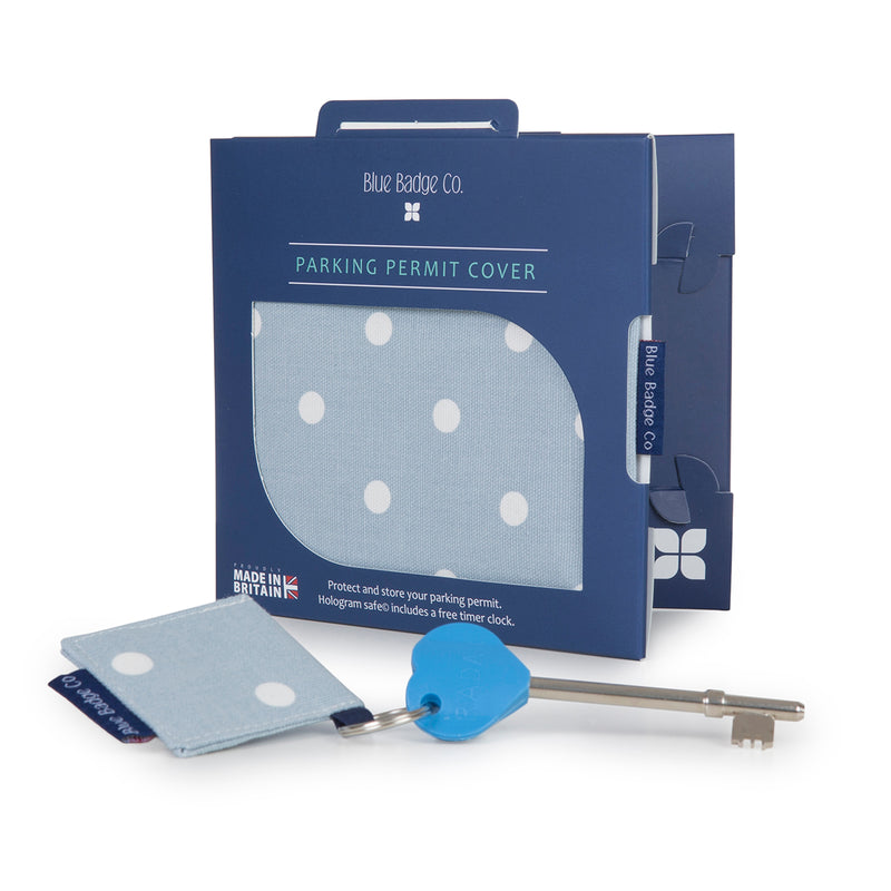 Disabled Blue Badge Wallet, Keyring and RADAR key in Powder Blue Spotty with blue badge company recyclable packaging