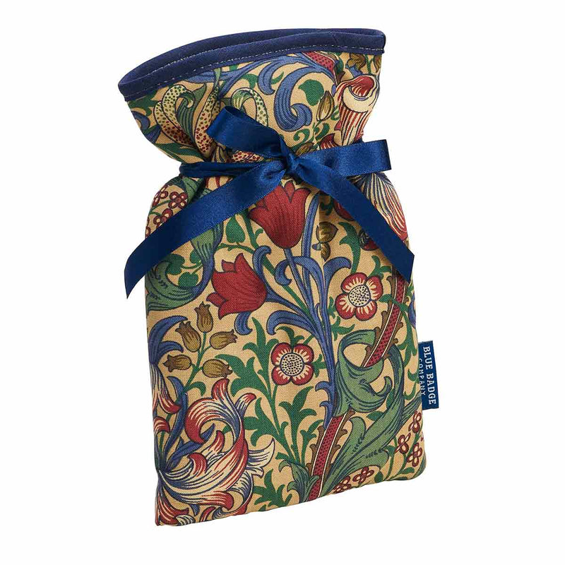 Mini Hot Water Bottle in William Morris Golden Lily with blue satin ribbon and blue badge company label showing