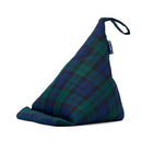 Tablet Cushion in Blackwatch Tartan with blue badge company label showing against white background