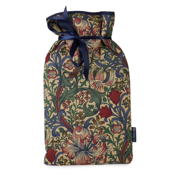 Large Hot Water Bottle in William Morris Golden Lily with satin ribbon and blue badge company label showing